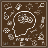 Human head and icons of science. Vector Stock Photos