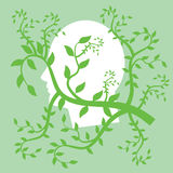 Human head illustration. Illustration with green branches and human head Stock Photos