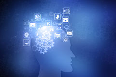 Human head with internet icons Stock Photo