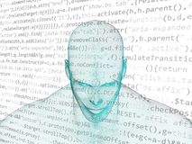 Human head with java code Royalty Free Stock Photography