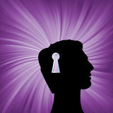 Human head with keyhole mark symbol. Security open mind vector concept. Royalty Free Stock Photos
