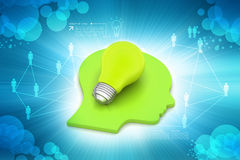 Human head with light bulb. In color background Royalty Free Stock Photography