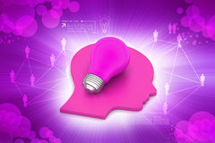 Human head with light bulb. In color background Stock Image