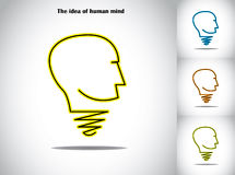 Human head light bulb idea abstract concept illustration art. A symbol in the shape of a lightbulb and human head - creativity and innovation artwork royalty free illustration