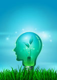Human Head Light Bulb with Nature Royalty Free Stock Photos