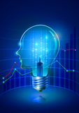 Human Head Light Bulb and Share of Business Royalty Free Stock Image