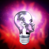 Human Head Light Bulb Stock Photography