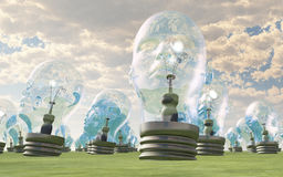Human head lightbulbs Stock Images