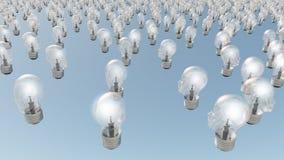 Human head lightbulbs Stock Photos