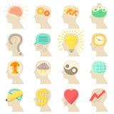 Human head logos icons set, cartoon style Royalty Free Stock Image