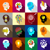 Human head logos icons set, flat style Royalty Free Stock Photos