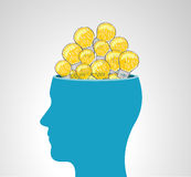 Human head with a lot of light bulb. Ideas Royalty Free Stock Photography