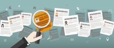 Human Head Loupe People Bewerbungen. German text Bewerbung, translate Application Stock Photo