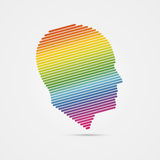 Human head. making from multicolor. Vector Stock Image