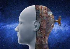 Human head with mechanical brain royalty free stock photo