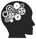 Human Head with Mechanical Gears Illustration Stock Image