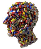 Human head of medicine tablets. The shape or profile of a human head created in 3-D by medical pills or tablets Royalty Free Stock Photos