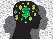 Human head with money symbol Royalty Free Stock Images