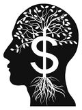 Human head money tree. Human head money tree on white background Royalty Free Stock Photography