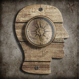 Human head and old compass. Idea concept. Human head and compass. Path finding, idea concept Royalty Free Stock Image
