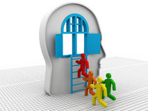 Human head with open door and ladder Stock Images
