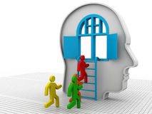 Human head with open door and ladder Stock Photo