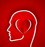 Human head with paper red heart Stock Photos