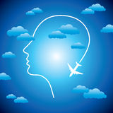 Human head with plane Stock Photos