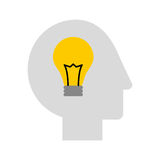 Human head profile with bulb. Vector illustration design Stock Photos