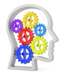 Human head profile with colorful cogwheels Stock Photography