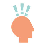 Human head profile with exclamation mark. Vector illustration design Stock Images