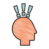 Human head profile with exclamation mark. Vector illustration design Royalty Free Stock Photo