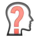 Human head profile with question mark Stock Photo