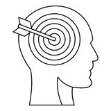 Human head profile with target inside icon. Outline illustration of human head profile with target inside vector icon for web Stock Image
