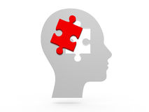 Human Head and Puzzle Piece Royalty Free Stock Photos