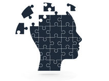 Human Head and Puzzle Pieces Royalty Free Stock Image