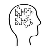Human head with puzzles inside Stock Images