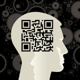 Human head with the QR-Code. The silhouette of a human head with the QR-Code Royalty Free Stock Photos