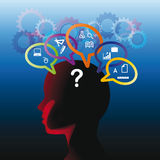 Human head with question Stock Images