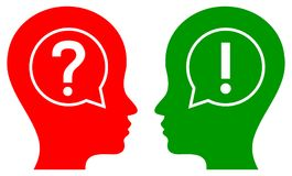 Human head question and answer concept. Simple vector illustration of human head question and answer concept on isolated Royalty Free Stock Images