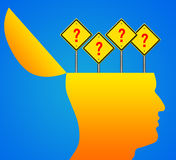 Human head with question mark signs Stock Photography