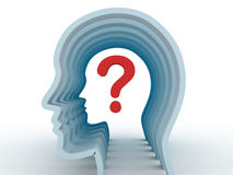 Human head with question mark symbol Royalty Free Stock Photos