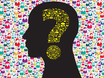 Human head with question mark symbol Royalty Free Stock Photography