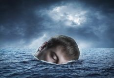 Human head in the sea Royalty Free Stock Image