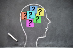 Human head shape on a blackboard with question marks on post-its inside Royalty Free Stock Photography
