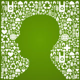 Human head shape over eco icons background Stock Image