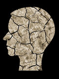 Human head silhouette cracked earth Stock Image