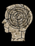 Human head silhouette cracked earth. Human head with maze and Dry brown cracked earth texture from dry lake symbolizing depression, old age, mental problems stock photo
