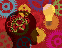 Human Head Silhouette with Gears Background Illust Stock Photos