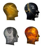 Human head silhouette. Silhouettes of four male heads money gold time and fire Royalty Free Stock Photography